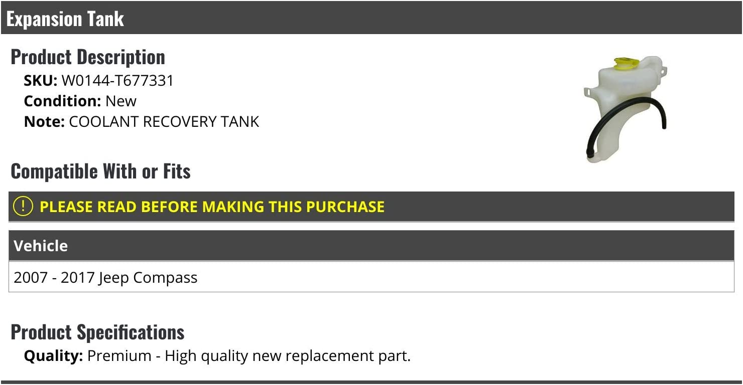 Coolant Reservoir Coolant Overflow Tank Coolant Reservoir Expansion Tank Replacement for 07-12 Dodge Caliber 07-17 Jeep Compass 07-17 Jeep Patriot 603-631