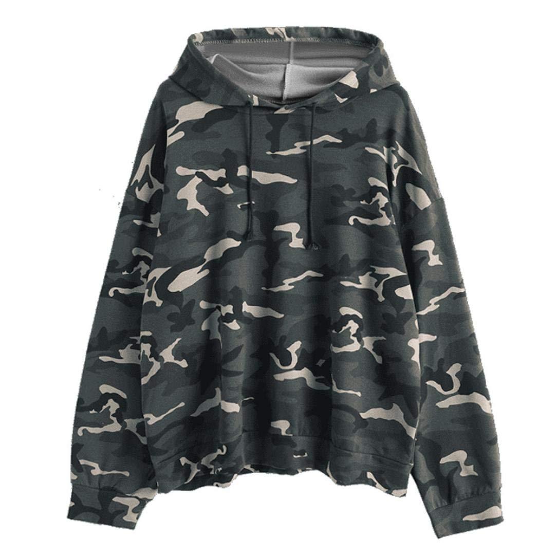 Anxinke Women Fashion Camouflage Pullover Tops Long Sleeve Hooded Sweatshirts (L)