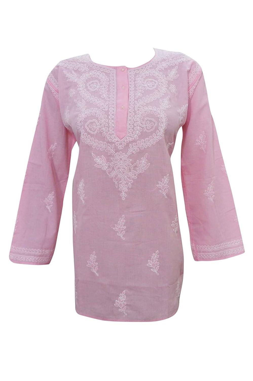 Mogul Interior Women's Blouse Cotton Comfy Pink Long Sleeves Lucknowi Chikankari Boho Chic L
