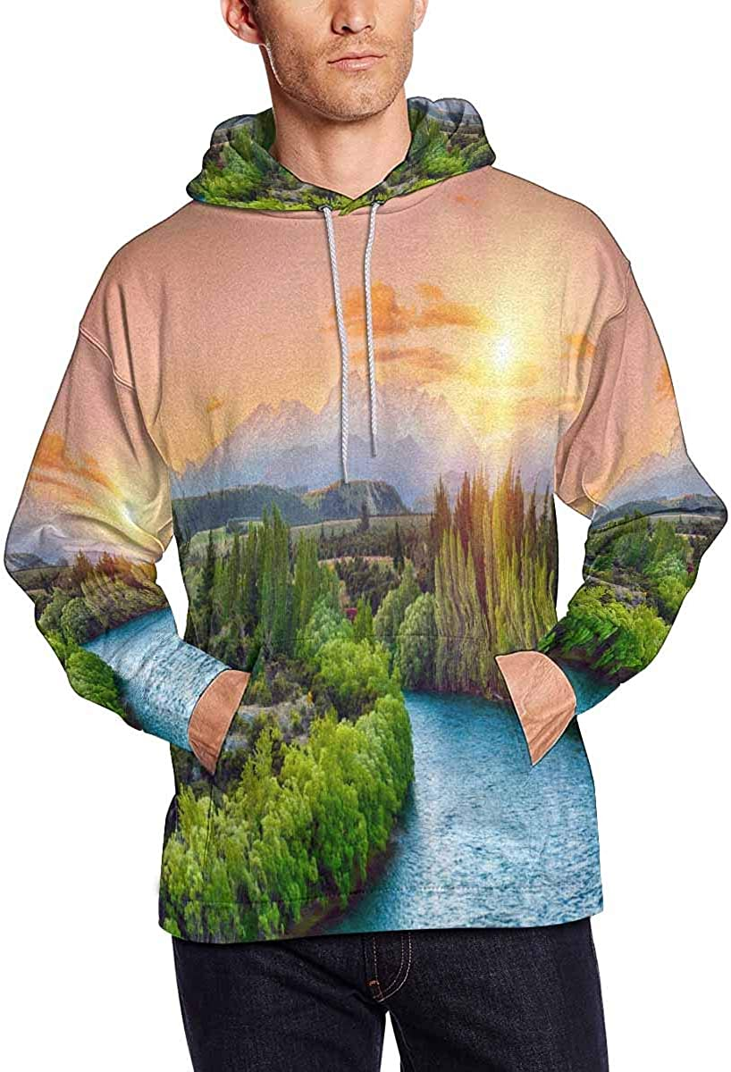 Full Moon Over Castles Hooded Sweatshirts INTERESTPRINT Mens Beautiful Landscape with Mysterious River