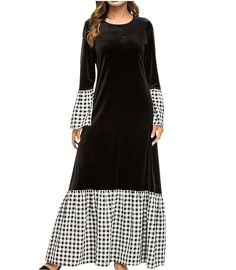 80654d2842e Abaya Femme Musulmane Dubai Robe-Caftan Femme Grande Taille Noir Ancien  Swing Robe de Soirée