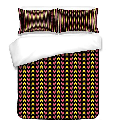 iPrint 3Pcs Duvet Cover Set,Abstract,Zigzag Ethnic Aztec Motif