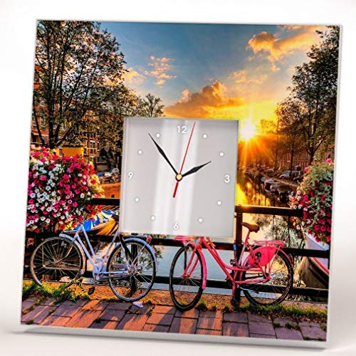 Bicycle in Amsterdam Wall Clock Framed Mirror Printed Decor Netherlands Bike Fan Art Home Room Gift