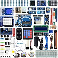 REXQualis for Arduino UNO R3 Complete Starter Kit w/UNO R3 Development Board, Real Time Clock, Water Lever Sensor, RC522 RFID Module, MQ-2 Gas, Detailed Tutorial