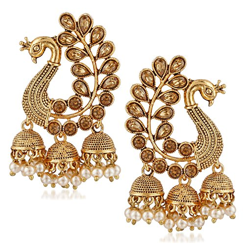 MEENAZ Gold Plated Brass Earrings for Women