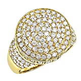 14k Gold Hip Hop Diamond Band Mens Pinky Ring 3.5ctw (Yellow Gold, Size 11.5)
