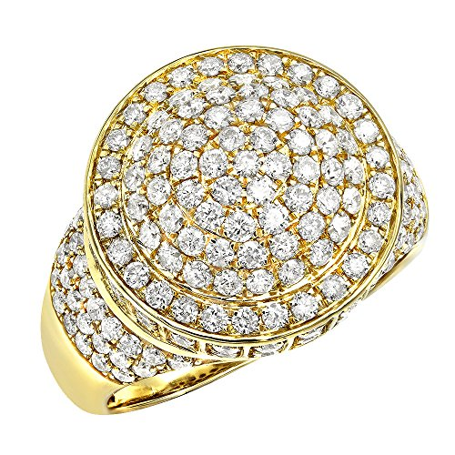 14k Gold Hip Hop Diamond Band Mens Pinky Ring 3.5ctw (Yellow Gold, Size 11.5) by Luxurman