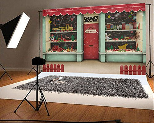Laeacco 7x5FT Vinyl Backdrop Christmas Shop Photography Background Decorated Xmas Showcase Gifts Holiday Shopping Store Toy Presents Children Baby Frontyard Fence Backdrop Photo Studio Props