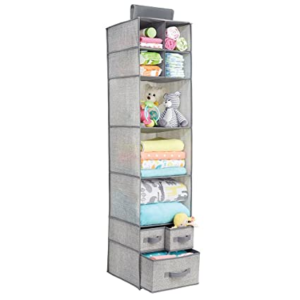 mDesign Soft Fabric Over Closet Rod Hanging Storage Organizer with 7 Shelves and 3 Removable Drawers  sc 1 st  Amazon.com & Amazon.com: mDesign Soft Fabric Over Closet Rod Hanging Storage ...