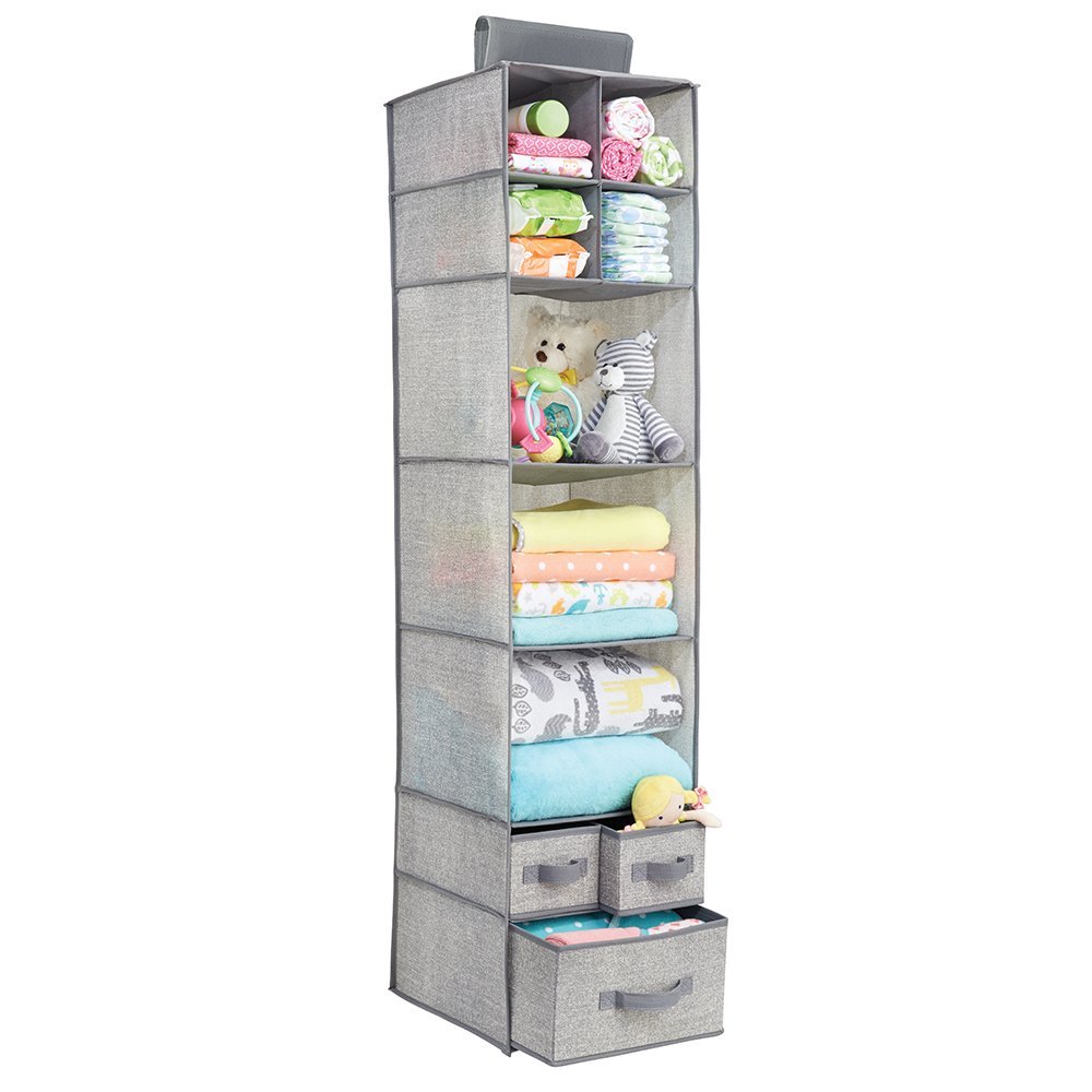 mDesign Soft Fabric Over Closet Rod Hanging Storage Organizer with 7 Shelves and 3 Removable Drawers for Child/Baby Room or Nursery - Textured Print - Gray