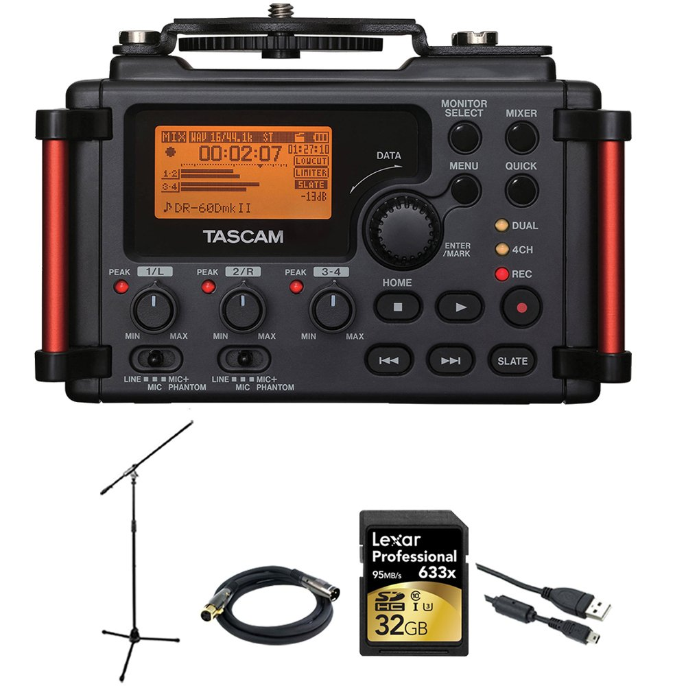 Tascam Portable Recorder for DSLR (DR-60DMKII) + 32GB SDHC Class 10 Memory Card + XLR 10' M-F 16AWG Gold Plated Cable + Professional Mic Stand w/Boom by Beach Camera
