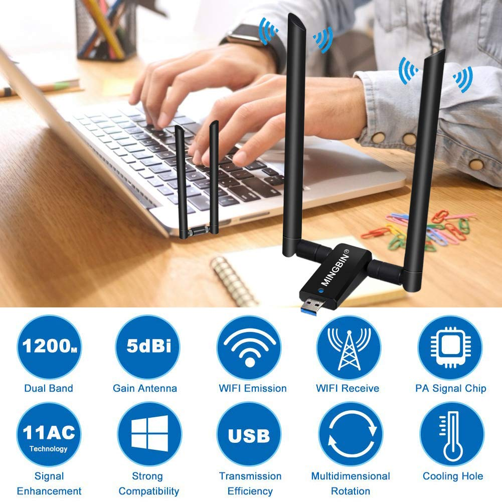 MingBin WLAN Stick USB 3.0 WLAN Adapter,1200Mbps WiFi Adapter mit 2x5dBi Antenne,Drahtlose Long Range Dual-Band WiFi Dongle MN 2.4 G//300Mbps Wireless Adapter f/ür PC//Desktop//Laptop 5G//867Mbps