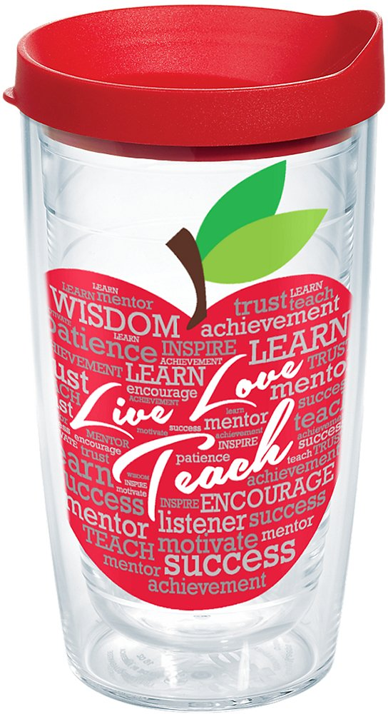 Tervis 1174638 Live Love Teach Insulated Tumbler with Wrap and Red Lid, 16 oz, Clear
