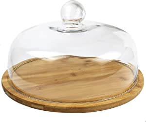 Royal Brands Bamboo Cake Display, Cake Holder, Dessert and Appetizer Round Centerpiece, Glass Dome Cloche Lid - Perfect for Holding Your Delicious Cakes and Pies (Large 11.5