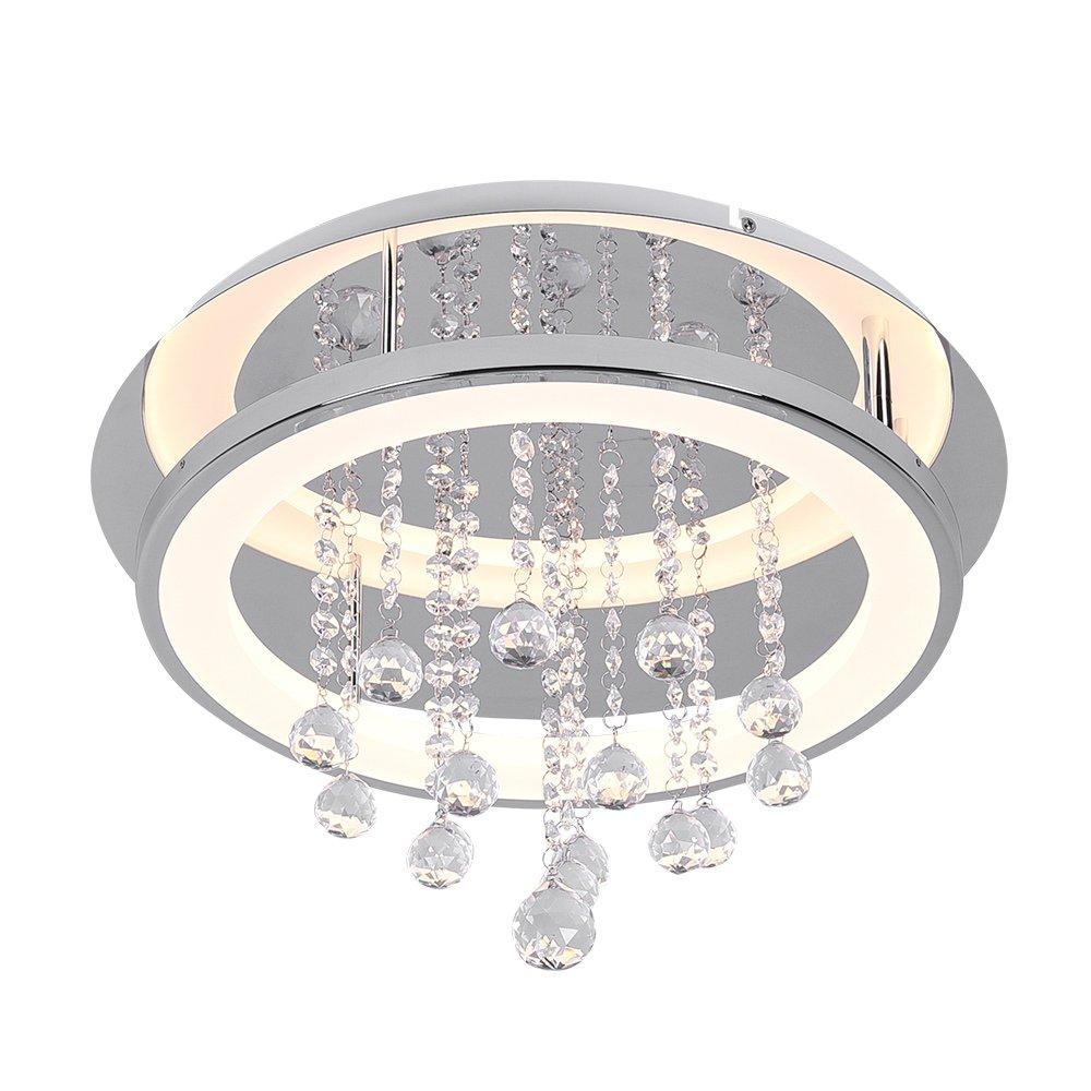 AUDIAN Flush Mount Ceiling Light Ceiling Lamp Dimmable LED Modern Roundness Glass Shade K9 Crystal Bead Ceiling Flush Mount Polished Chrome Light for Children
