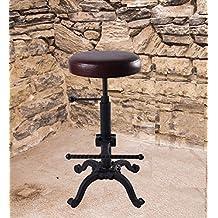 TOPOWER Vintage Bar Stool PU soft seat & Iron Industrial height adjustable bar chair Bar Stool