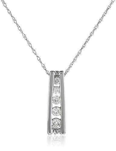 Amazon 10k white gold 5 stone diamond pendant 14 cttw h i 10k white gold 5 stone diamond pendant 14 cttw h i color aloadofball Images
