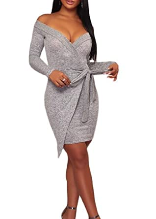 dfd2ebd9796e Image Unavailable. Image not available for. Color  FashionRun Women s  Thickened Sexy Bodycon Bandage Long Sleeve Off Shoulder ...