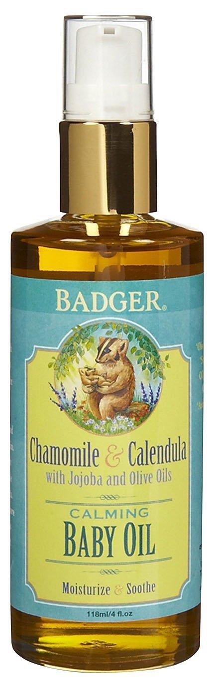 Badger Baby Oil 4oz Glass Bottle