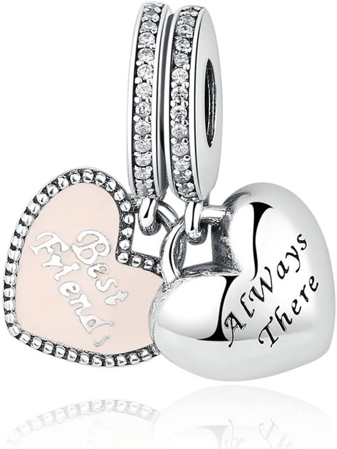 BEAUTY Best Friend Always There Charm 925 Sterling Silver Beads(1 Pair) Fit Necklace and Bracelet