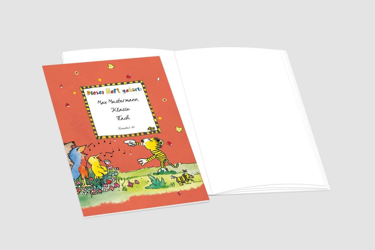 24 lustige JANOSCH-Schulhefte A4, »Fröhlicher »Fröhlicher »Fröhlicher Chor«,Lineatur 20, Pistaziengelb, personalisierbar, 32 Seiten B077VML8YK   Neu  a3d349