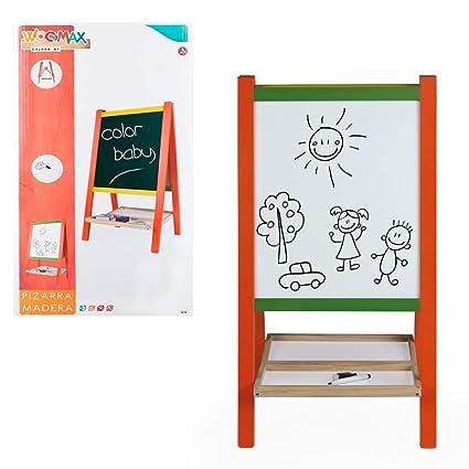 WOOMAX- Pizarra caballete de madera con accesorios (Color Baby 43692)