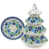 "Polish Pottery Handmade 8"" Christmas Tree Luminary Star Cutouts Traditional Stoneware Pattern 602-Blue Violets"