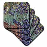 3dRose cst_46958_2 Van Gogh Irises Iris, Flower, Flowersanniversary, Wedding Anniversary, 25Th Anniversary, Faith Soft Coasters, Set of 8