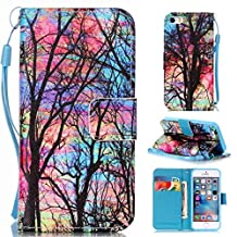"""OTTER MK for iPhone 5 5S SE Wallet Case PU Leather Tree Forest Wallet Case Flip Folio Kickstand Card Holder Cover with Strap Case for iPhone 5/5s/se 4"""""""