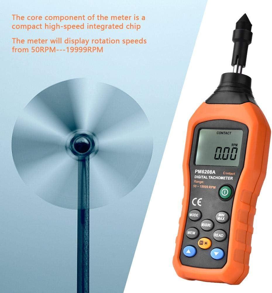 sin bater/ías incluidas Tipo de contacto Digital port/átil de mano Tac/ómetro fotogr/áfico compacto y contador Tach Meter Probador de indicador de velocidad del motor