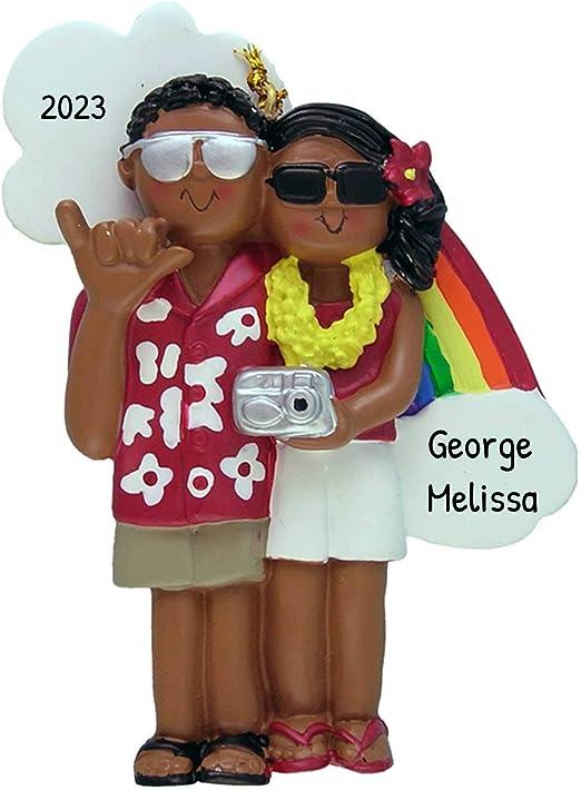 Vacation Plan Christmas 2020 Amazon.com: Personalized Vacation Couple Christmas Tree Ornament
