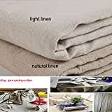 YOUMU Natural Cotton Linen Fabric, Solid Color Hemp Jute Burlap Fabric for Crafts & Decoration, 62'' x 39'' (Light Linen)