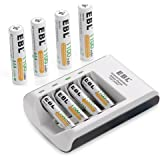 EBL 8pcs AAA Rechargeable Batteries 1100mAh with Individual AA AAA Battery Charger