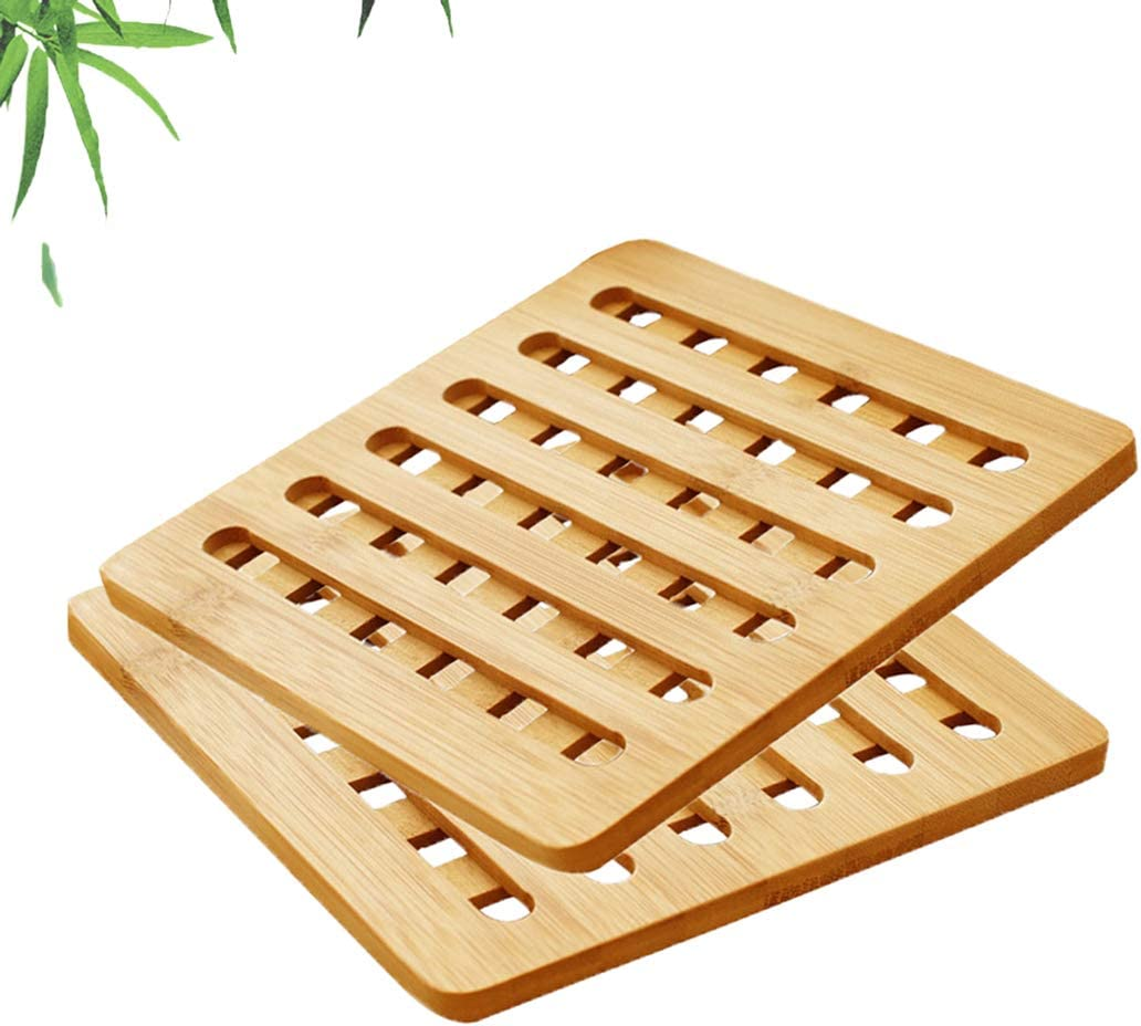 Natural Bamboo Hot Pads Trivet, Kitchen Round Bamboo Trivets Coasters Mat -Anti-Hot Durable Pot Mat Easy to Clean for Hot Pot/Dishes/Bowl/Teapot Coffee Etc (Pack of 2),Square