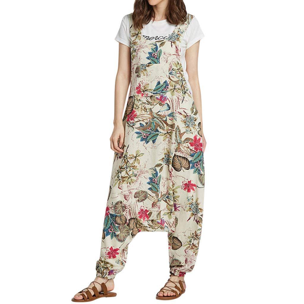 ZOMUSAR 2019 Pants for Lady, Women Vintage Print Boho Loose Bib Pants Cotton Linen Overalls Jumpsuit Beige