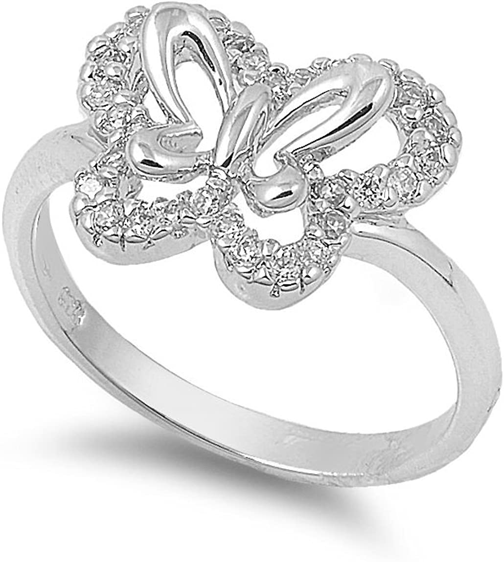 CloseoutWarehouse Butterfly Cubic Zirconia Ring Sterling Silver 925
