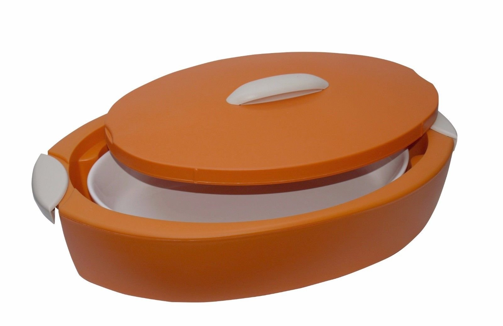 ENJOY OVAL INSULATED FOOD SERVER WITH OVENPROOF DISH ''TUTTOCALDO'' 3 Lts - Orange by Enjoy