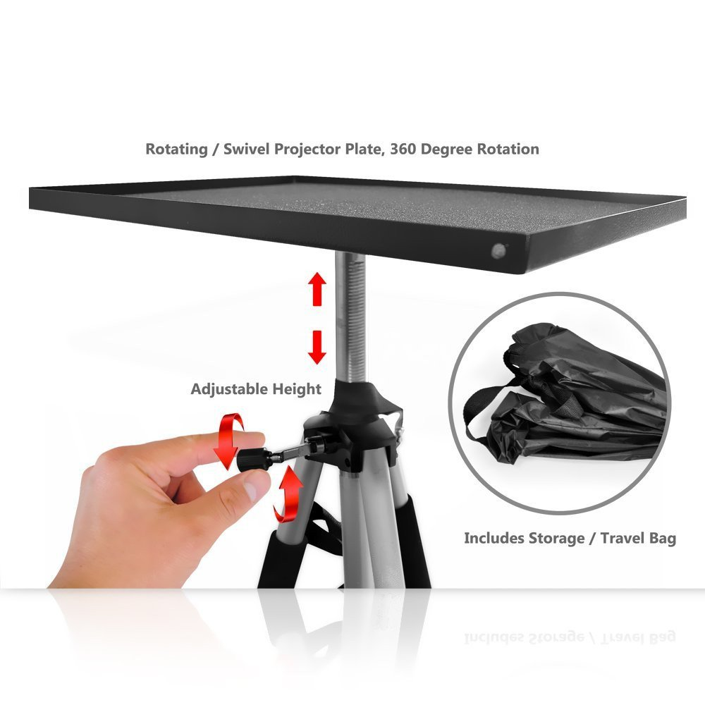 Video Projector Mount Stand, Laptop Stand, Adjustable Height, 360 Degree Rotation, Swivel/Rotating Plate, Tripod Style, With Travel Bag by Assome (Image #3)