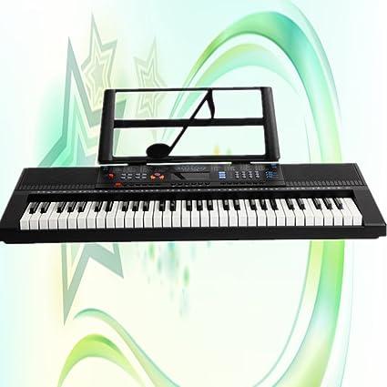 QXMEI Adultos Niños Piano Electrónico 61 Teclas Música Teclado De Piano con Micrófono Teclado Negro(