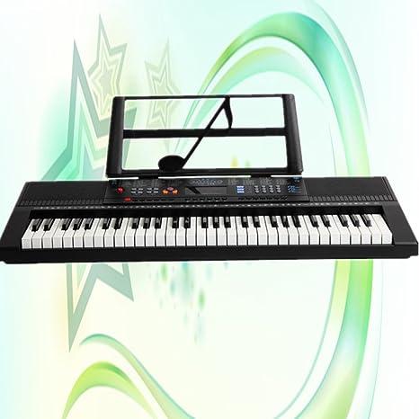 KYOKIM Adultos Niños Piano Electrónico 61 Teclas Música Teclado De Piano con Micrófono Teclado Negro