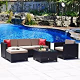 Cloud Mountain 6 Piece Rattan Wicker Furniture Set Outdoor Patio Garden Sectional Conversation Set Sofa Loveseat Set Red Pillows, Black Rattan with Khaki Cushions