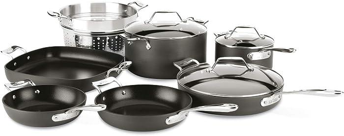 All-Clad H911SA64 Essentials Nonstick Cookware set, 10 Piece, Grey