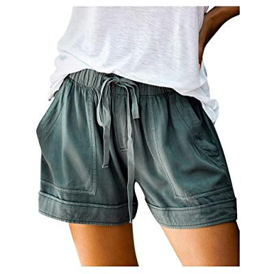 Meikosks Women's Drawstring Loose Shorts Pocketed Splice Pants Summer Comfy Beach Short: Clothing