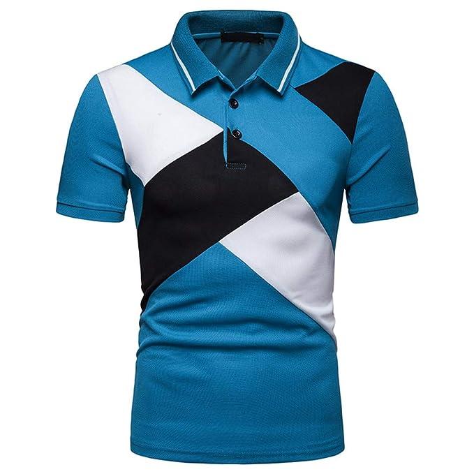 Camisetas Hombre Manga Corta, Manadlian Manera Corta De Moda para Hombre Remiendo De La Raya Blusa Tops Casuales Camisas para Hombre Talla Grande: ...