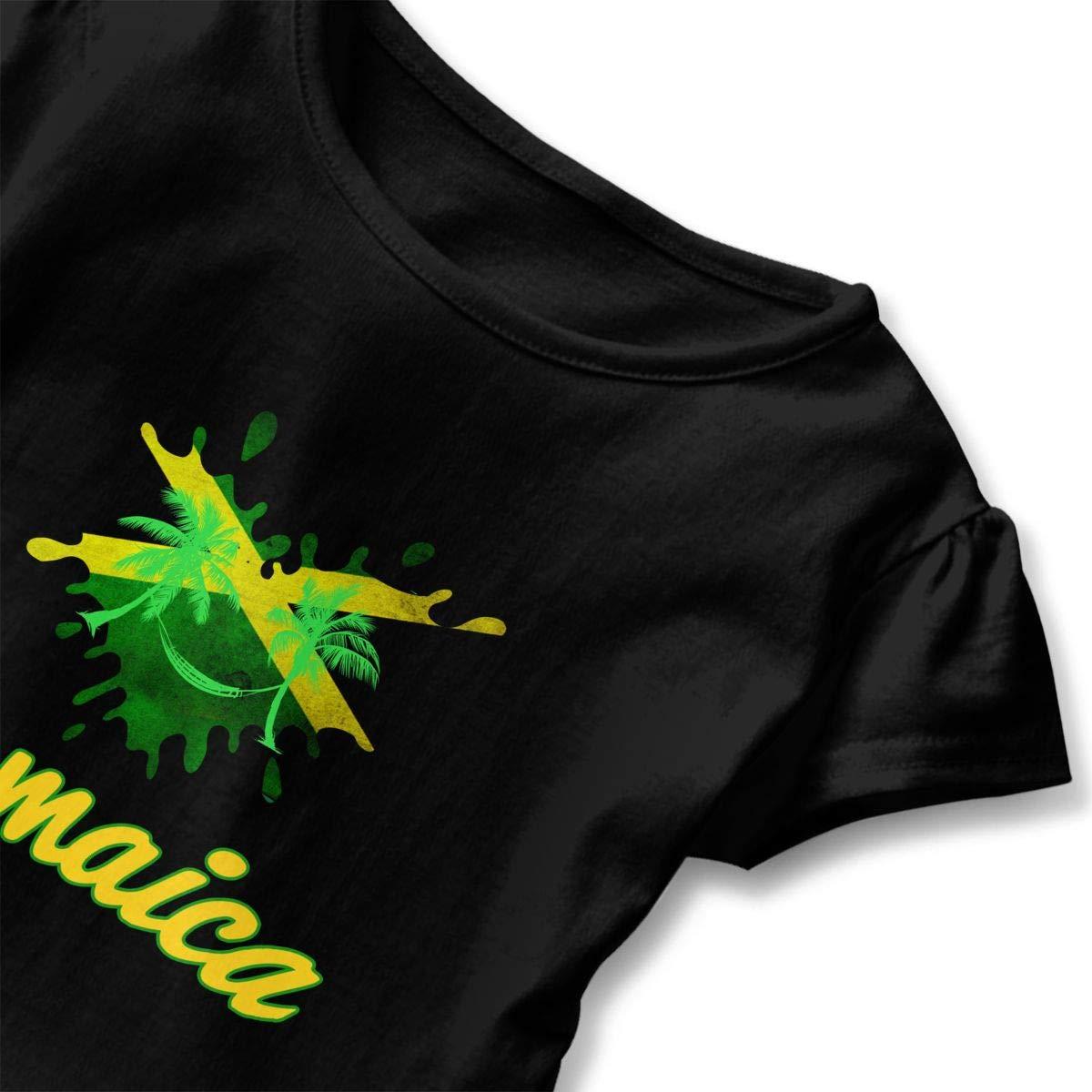 I Love Jamaica Toddler Baby Girls Short Sleeve Ruffle T-Shirt