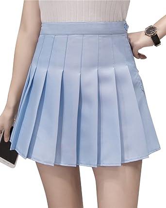 38d81aa55fb1 ShiFan Femme en Mini Jupe Patineuse Taille Haute Plissée Jupe Court Azur XS
