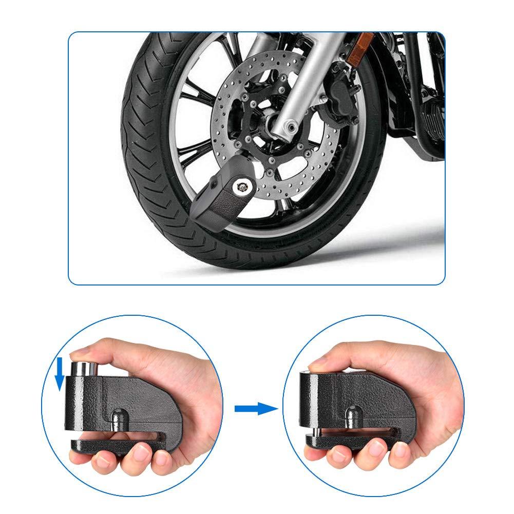 Queta Moto Candado Moto Freno con Alarma de sacudidas antirrobo Alarma para Moto y Bicicleta 110/Db Ton Resistente al Agua