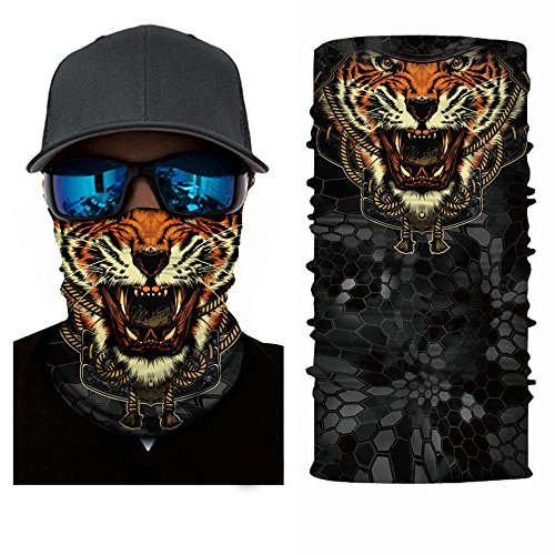3D Animal Cycling Face Mask, Fabric UV Protection Outdoor Cycling Riding Hiking Motorcycling Mask Dust-Proof Breathable Seamless Tube Headwear Ski Snowboard Scarf Neck Warmer Balaclava Bandana (Tiger)