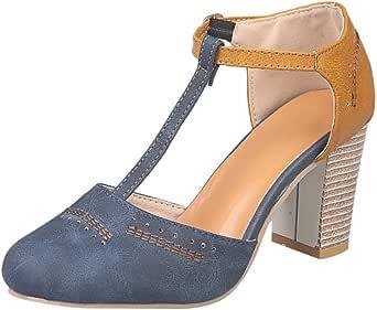 Amazon Com Sandalias De Cuña De Moda De Verano Casual Cerrado Dedo Del Pie Tobillo Hebilla Correa T String Sandalia Bloque De Plataforma Gruesa Zapatos Clothing