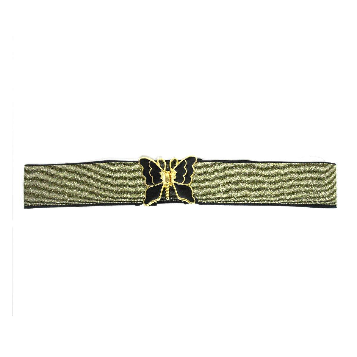 Women's Fashion Butterfly Buckle on Metallic Elastic Stretch Belt